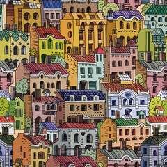 Vector hand drawn houses seamless pattern.