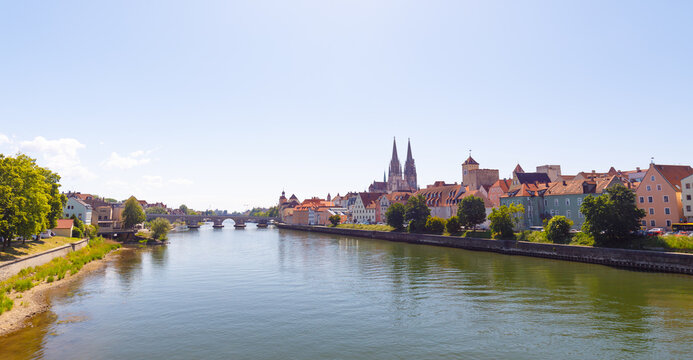 Cityscape of Regensburg with river danube
