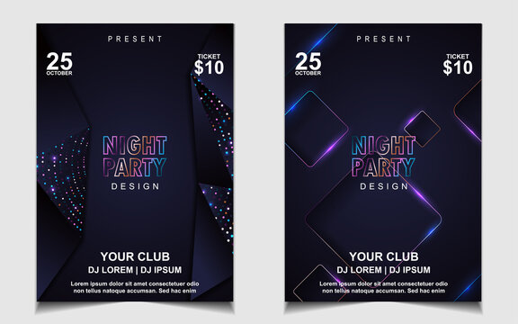 Night dance party electro music layout design template background with elegant style blue wavy. Colorful style vector for concert disco, club party, event flyer invitation, cover festival poster