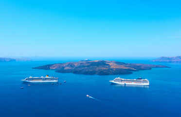Aegean Sea with cruise ships from Santorini