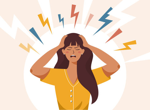 Stress, irritation factors, housekeeping, overwork, badmood. Flat vector illustration of female with open mouth, clutching at head with both hands, suffering from headache, panic, fright, depression.