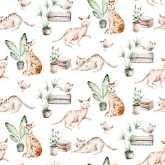 Watercolor Seamless Pattern with cute cartoon cats for Children on the white background. Kids scrapbooking paper and wallwaper design.