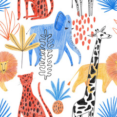 Seamless Pattern With Funny African Animals.