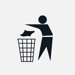 Obraz Symbol ludzika wyrzuć do kosza na opakowanie - fototapety do salonu