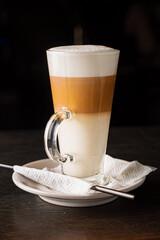 foamy layered hot coffee drink latte