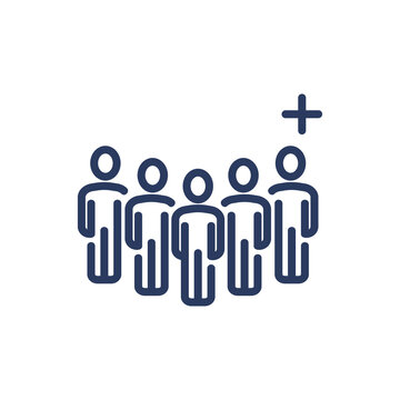 Group of users and add friend thin line icon. Crowd, community, plus, cross isolated outline sign. People, society, social network concept. Vector illustration symbol element for web design and apps