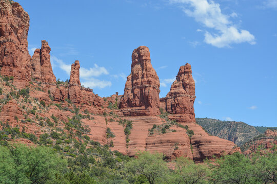 Two Nuns red rock formation in Sedona, Yavapai County, Kaibab National Forest, Arizona