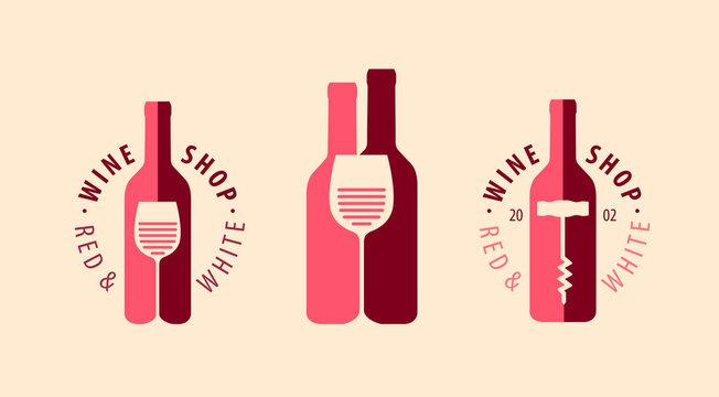 Wine symbol, logo. Winery, restaurant, drink concept