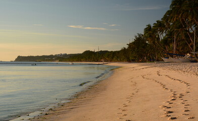 View of White beach at sunset. Boracay island. Western Visayas. Philippines