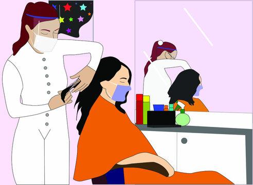 Estilista arreglando el cabello de una mujer, respetando las nuevas reglas de seguridad para evitar la propagación del coronavirus, usando cubiertas bucales y una máscara facial