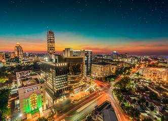 Sandton city illuminated at night in Gauteng Johannesburg South Africa