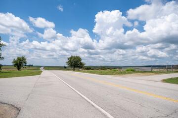Fotobehang Route 66 Route 66 Empty Highway Crossing in Oklahoma