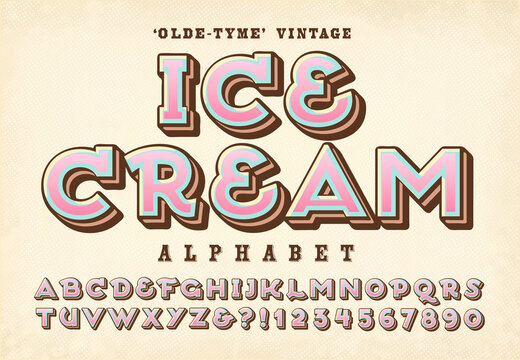 An Old-Time Alphabet Ideal for Ice Cream Vendor Trucks, Menus, Parties, Carnivals, etc.