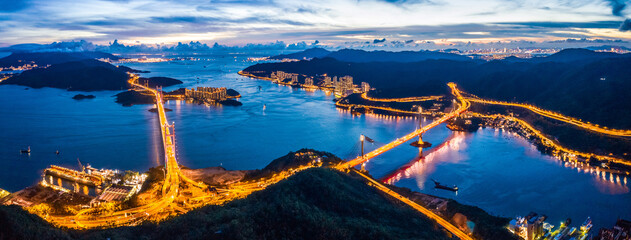 Wall Mural - Evening of Tsing Ma Bridge, 14th longest span suspension bridge in the world, Hong Kong