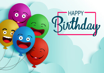 Happy birthday balloon vector background banner. Happy birthday text in empty space for messages and party colorful balloons element for kids birthday celebration greeting card. Vector illustration