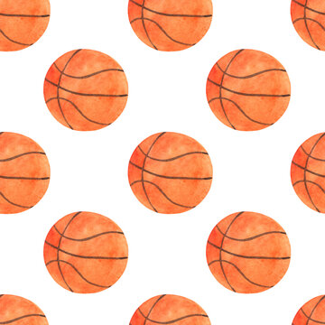Seamless watercolor pattern with orange basketball ball on a white background.