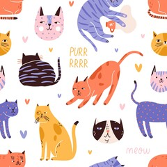 Backdrop with cute, funny cat head, muzzle, face, hearts and purr, meow text. Seamless repeatable pattern with colorful decoration element. Flat vector illustration isolated on white background