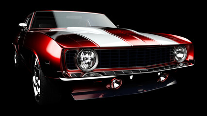 Fototapeta 3D illustration. Muscle red car rendering isolated on black background. Vintage classic sport car. Car show. Wheels. Bumper. Front perspective view. Chevrolet camaro. Realistic 3D rendering. obraz