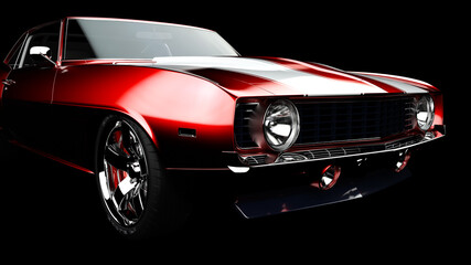 Fototapeta 3D illustration. Muscle red car rendering isolated on black background. Vintage classic sport car. Car show. Wheels. Bumper. Front perspective view. Chevrolet camaro. obraz
