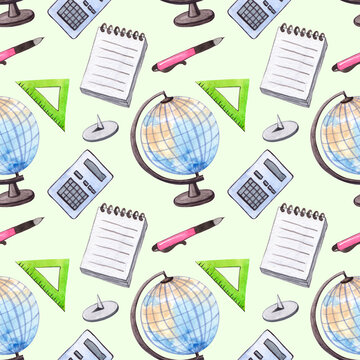 Seamless watercolor pattern with school elements. With notebook, globe, ruler and school supplies.