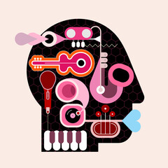 Human head shape design consisting with a different musical instruments vector illustration. Black silhouette on a light background.