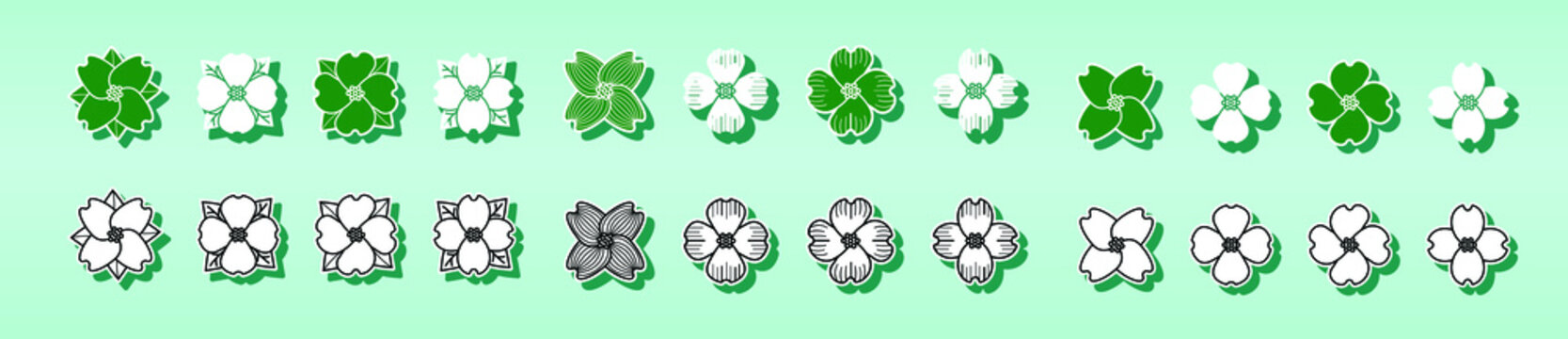 dogwood set design for logo and more. isolated vector on tosca background