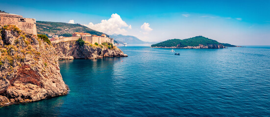Gorgeous spring view of famous Fort Bokar in city of Dubrovnik. Splendid morning seascape of Adriatic sea, Croatia, Europe. Beautiful world of Mediterranean countries. Sunny outdoor scene. Wall mural