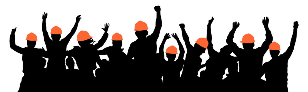 Construction workers strike. Protest of crowd of builders. Silhouette vector