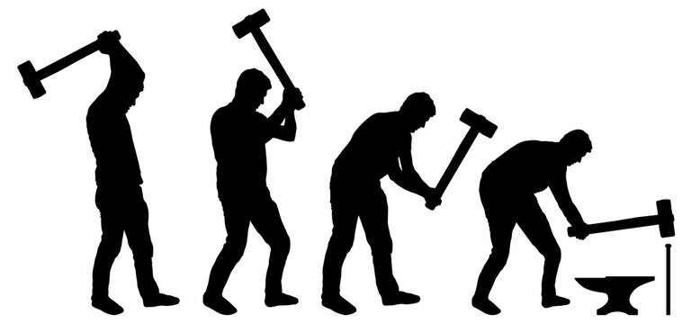 Man with sledgehammer in his hands. Human hits anvil with a hammer. Silhouette vector set
