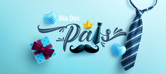 Dia Dos Pais.Father's Day in portuguese language with necktie and gift box on blue background.Greetings and presents for Father's Day in flat lay styling.Promotion and shopping template for love dad