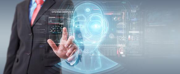 Businessman using digital artificial intelligence head interface 3D rendering