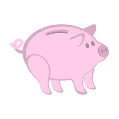 Pink piggy bank isolated on white. Simple vector illustration. Easy to change color.