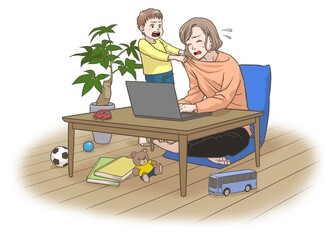 A remote working mother with some interruptions by her son