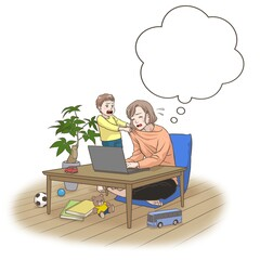 A remote working mother with some interruptions by her son, thinking something