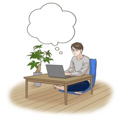 A remote working man with a frowning face, thinking something