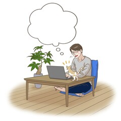 A remote working father with some interruptions by his cat, thinking something
