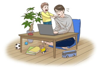 A remote working father with some interruptions by his son