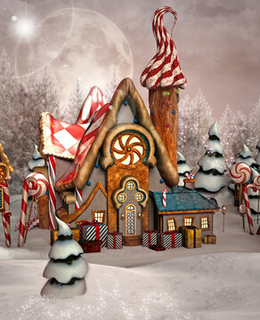 Enchanted gingerbread house in a winter scenery