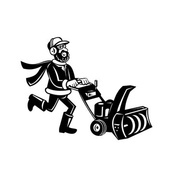 Man Pushing a Snow Blower or Snow Thrower Cartoon Retro Black and White