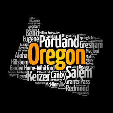 List of cities in Oregon USA state, map silhouette word cloud, map concept background