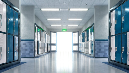 Wall Murals India School corridor with exit door. 3d illustration