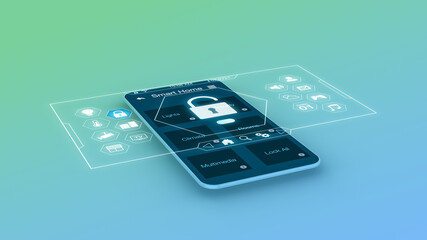 stylized smartphone with a smart home app and a futuristic holographic interface (3d render)