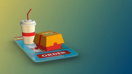 order food online, smartphone with a dedicated app, fast delivery (3d render)
