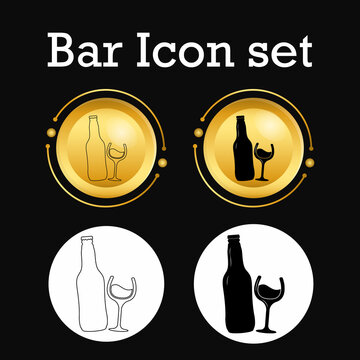Beer vector icons set - bottle, glass, pint,Simple bar icons set. Universal bar icons to use for web and mobile UI, set of basic bar elements. line art. line art logo. flat icon design for flyer, logo
