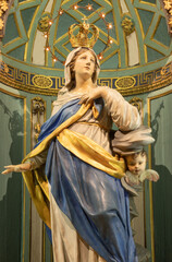 RAVENNA, ITALY - JANUARY 27, 2020: The statue of Immaculate Conception in the church Basilica di Sant Francesco.