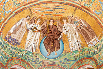 RAVENNA, ITALY - JANUARY 28, 2020: The mosaic of Jesus Christ the Pantokrator from the apse of presbytery in the church Basilica di San Vitale from the 6. cent.
