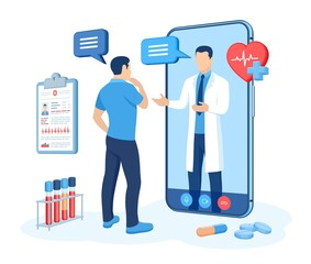 Online medical consultation and support services concept. Doctor videocalling on smartphone screen. Online healthcare and medical advise. Tele medicine e-health service. Flat vector illustration.