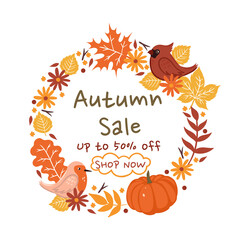 Autumn Sale. A wreath of autumn leaves on a white background. Vector graphics.