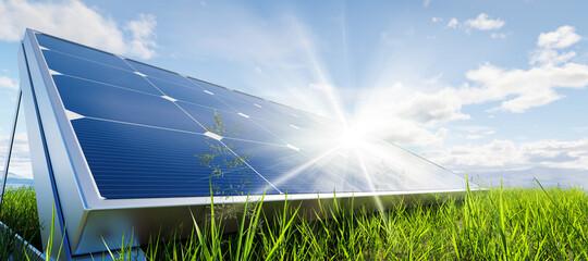 Solar panels array system. Photovoltaic, clean energy technology Fotoväggar