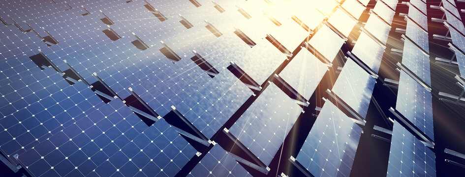 Solar panels array system. Photovoltaic, clean energy technology